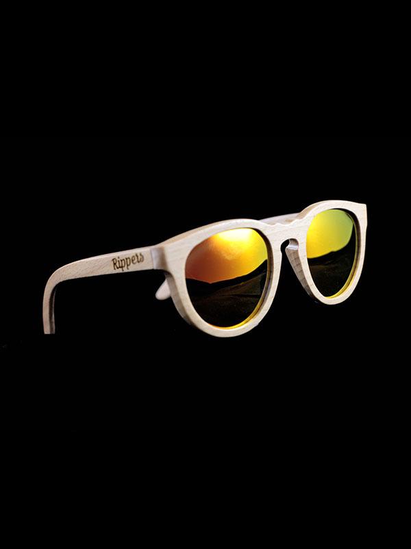 Gafas de sol de madera curve yellow tamaño completo fondo negro