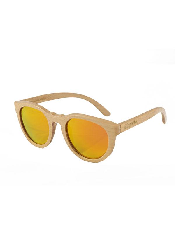 Gafas de sol de madera curves yellow tamaño completo fondo blanco