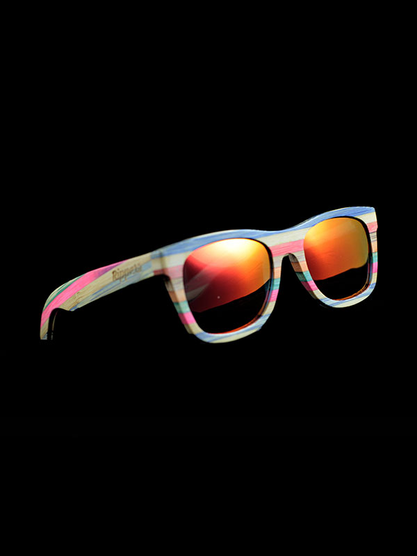 Gafas de sol de madera rainbow one tamaño completo fondo negro