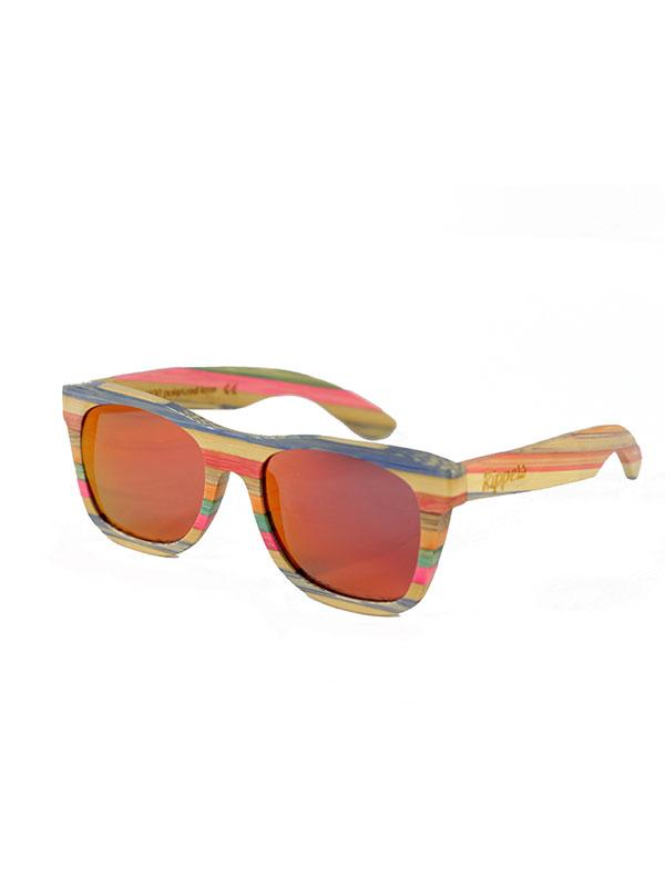 Gafas de sol de madera rainbow one tamaño completo fondo blanco