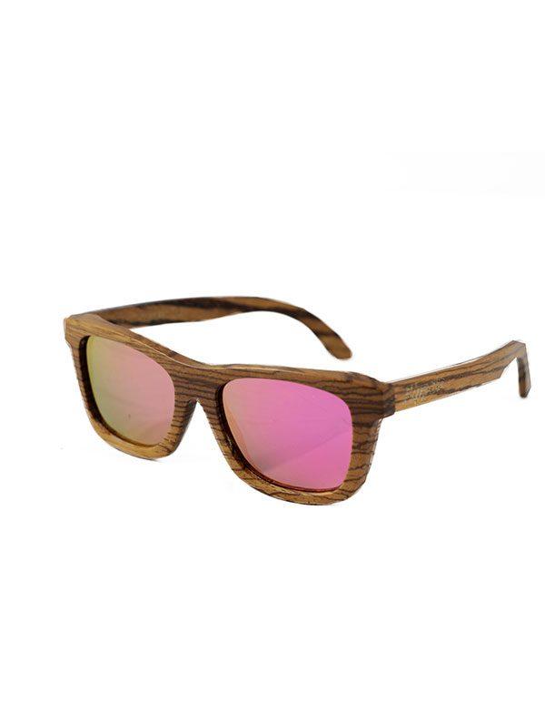Gafas de sol de madera zebra pink tamaño completo fondo blanco